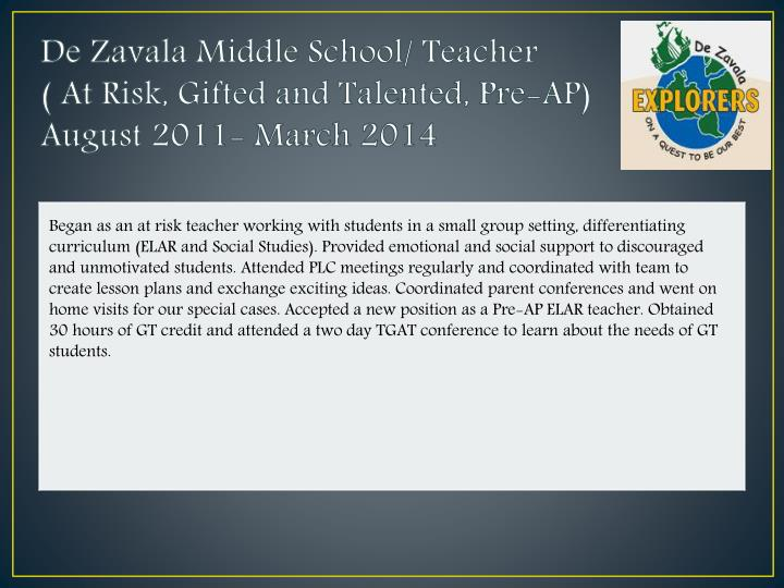 De Zavala Middle School/ Teacher