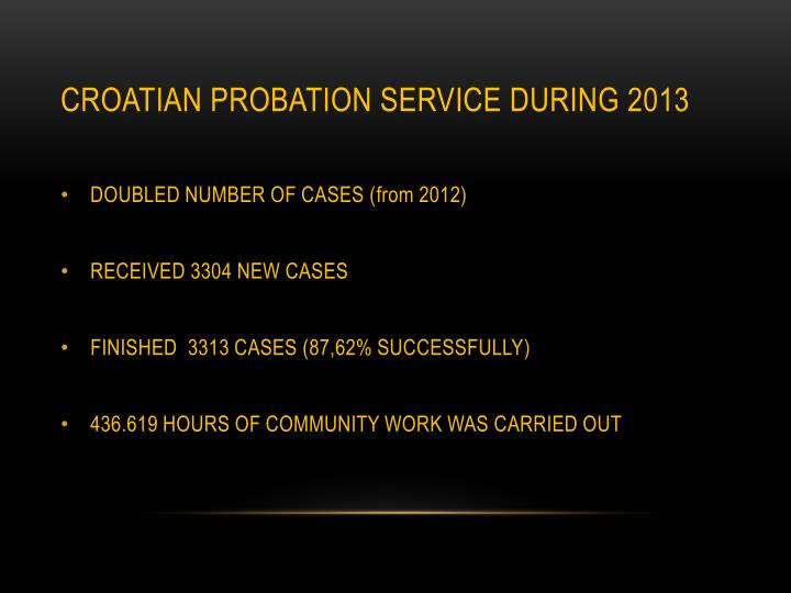 CROATIAN PROBATION SERVICE DURING 2013
