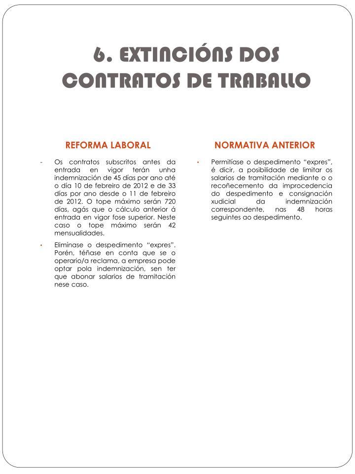 6. EXTINCIÓNS DOS CONTRATOS DE TRABALLO