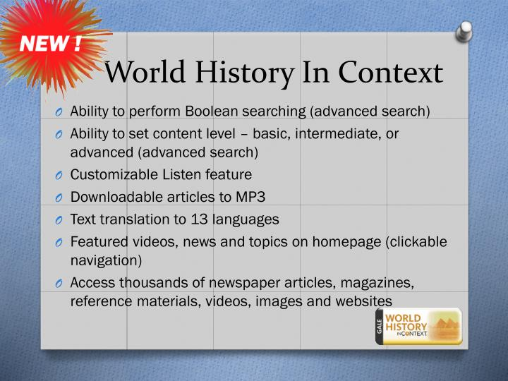 world history in context Stay updated with what's happening at fcps with news you choose sign up now.
