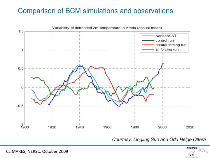 Comparison of BCM simulations and observations