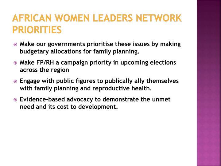 African women leaders network priorities