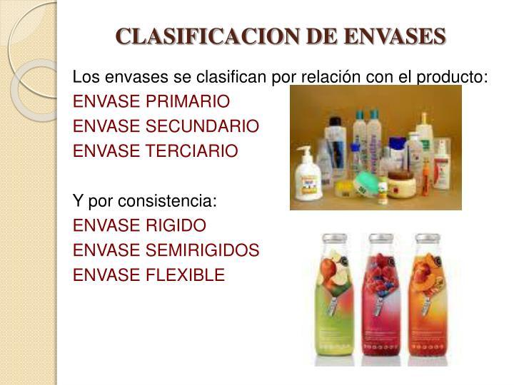 CLASIFICACION DE ENVASES