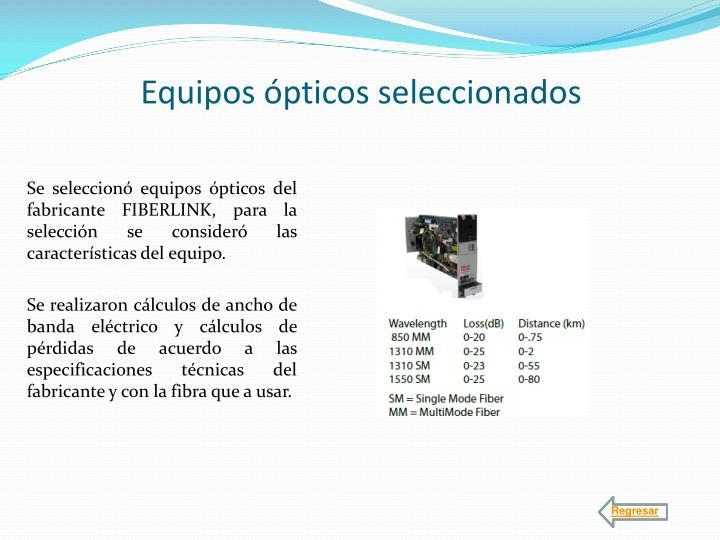 Equipos ópticos seleccionados
