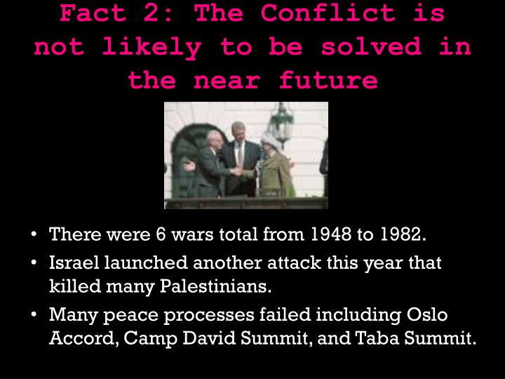 Fact 2: The Conflict is not likely to be solved in the near future