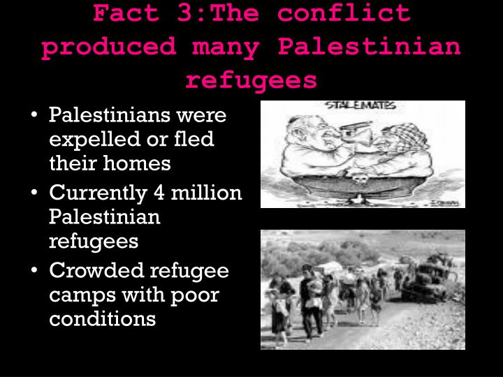 Fact 3:The conflict produced many Palestinian refugees
