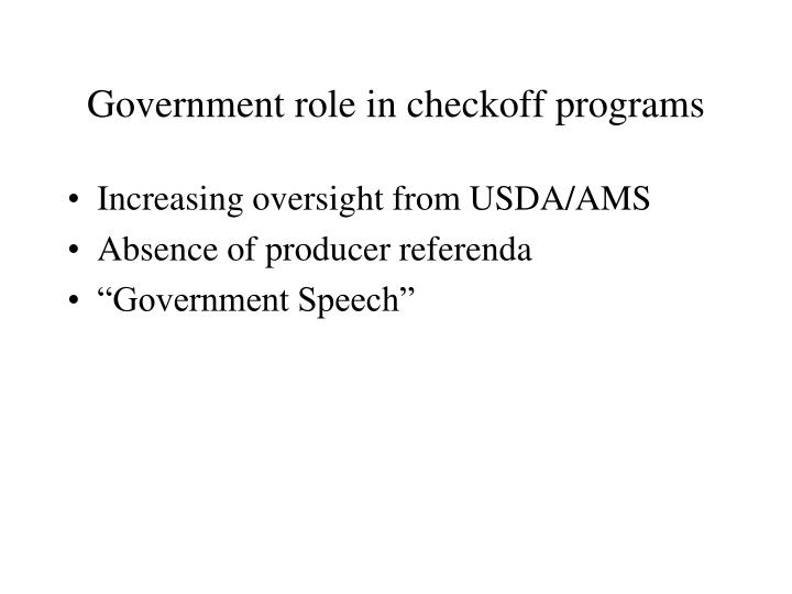 Government role in checkoff programs