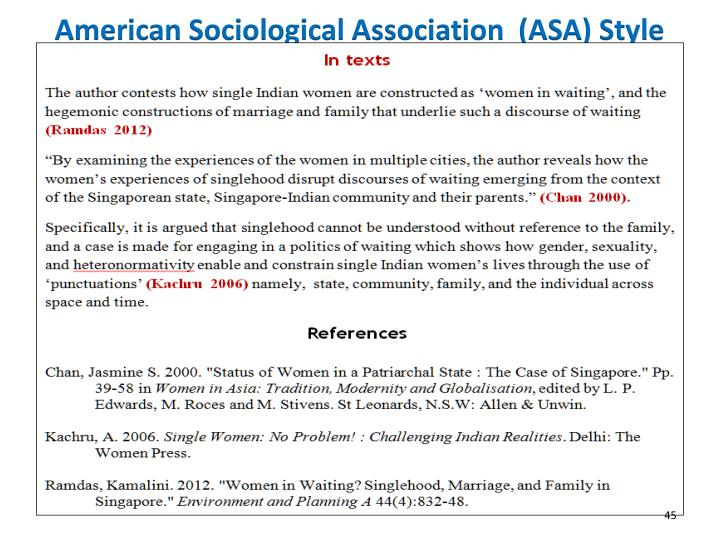 American Sociological Association  (ASA) Style