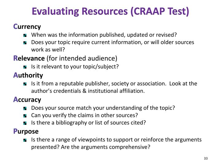 Evaluating Resources (CRAAP Test)