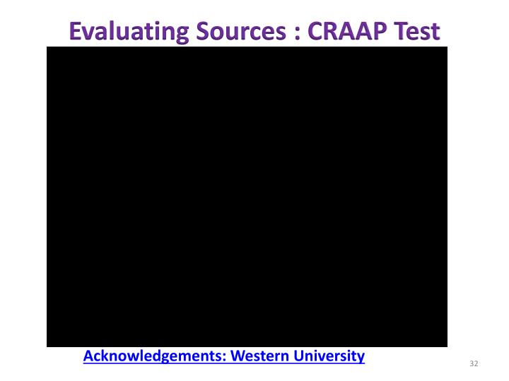 Evaluating Sources : CRAAP Test