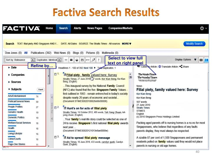 Factiva Search Results
