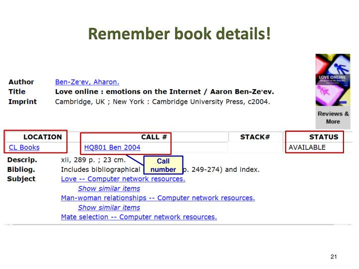 Remember book details!