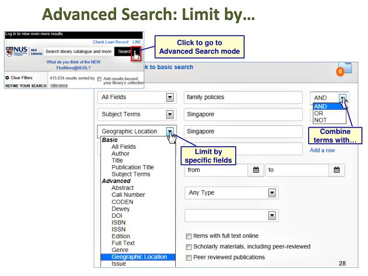 Advanced Search: Limit by…