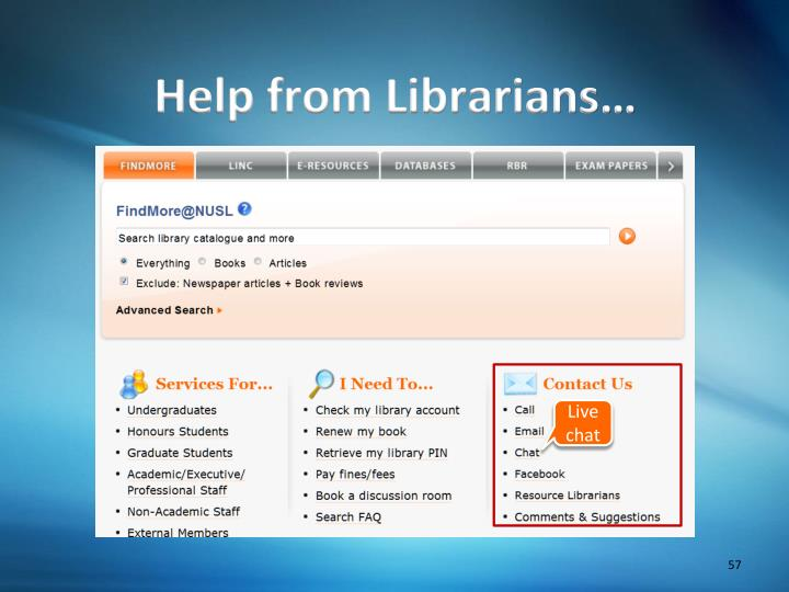 Help from Librarians…