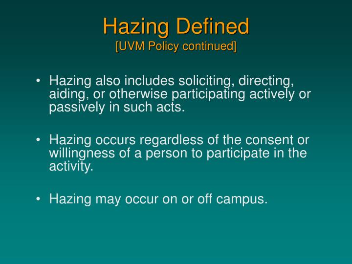 Hazing Defined
