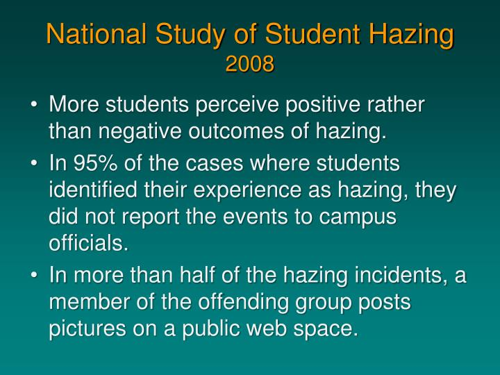 National study of student hazing 20081