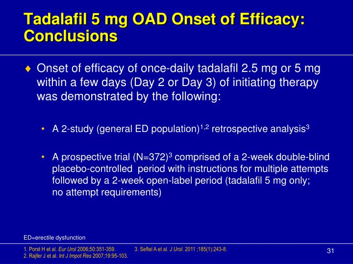 Tadalafil 5 mg OAD Onset of Efficacy: Conclusions