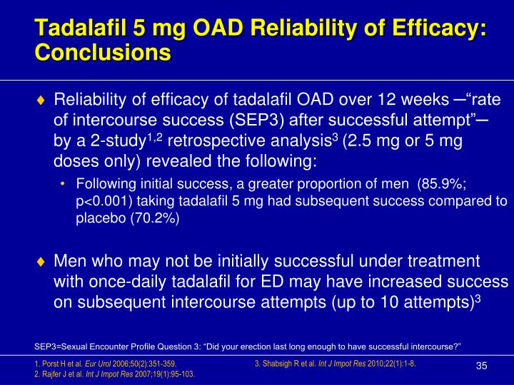 Tadalafil 5 mg OAD Reliability of Efficacy: Conclusions
