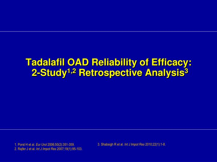 Tadalafil OAD Reliability of Efficacy: