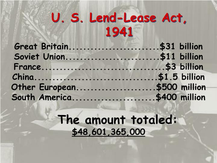 U. S. Lend-Lease Act,