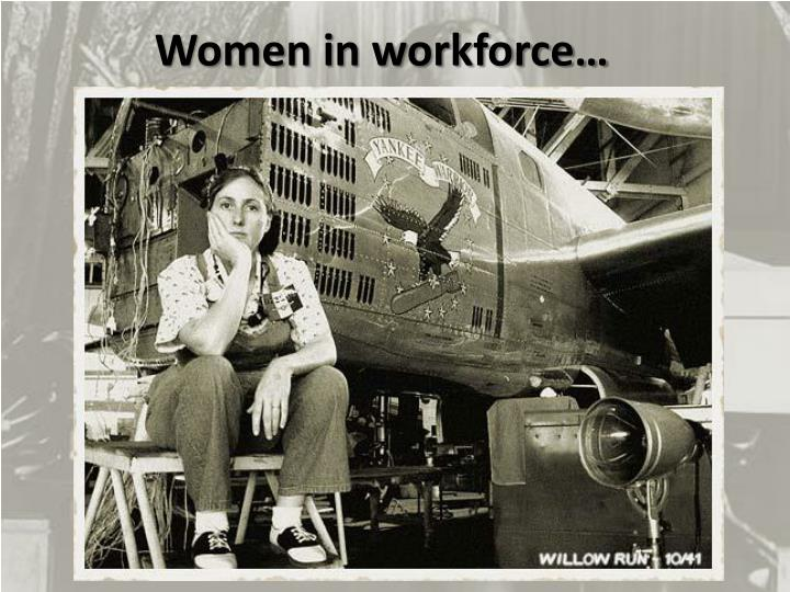 Women in workforce…