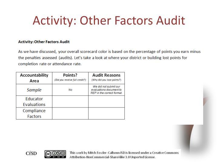 Activity: Other Factors Audit