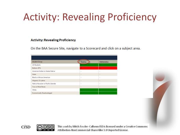 Activity: Revealing Proficiency
