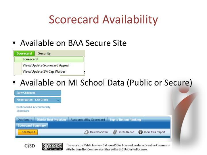 Scorecard Availability
