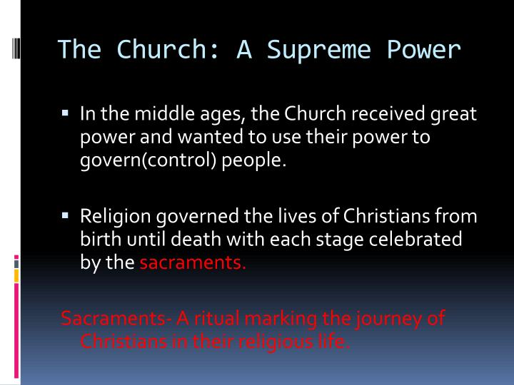 The Church: A Supreme Power
