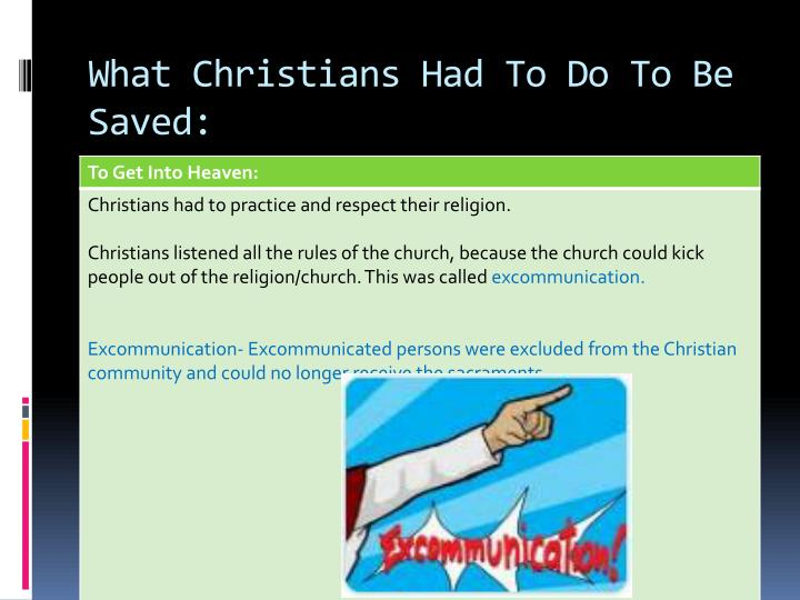 What Christians Had To Do To Be Saved: