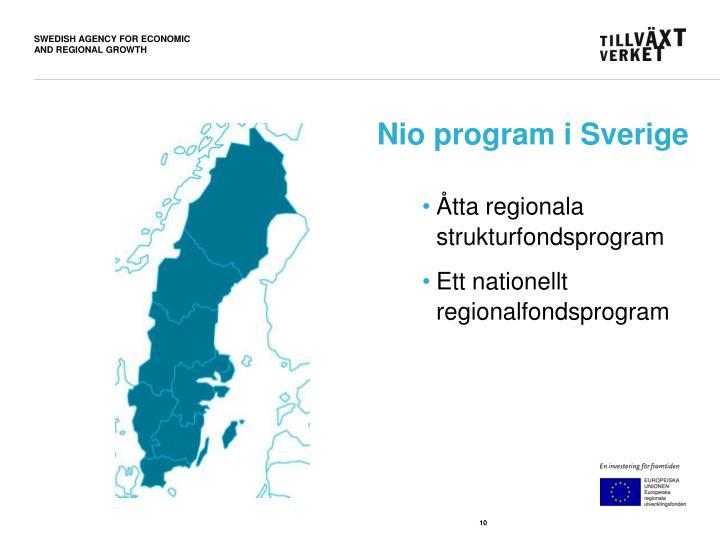 Nio program i Sverige