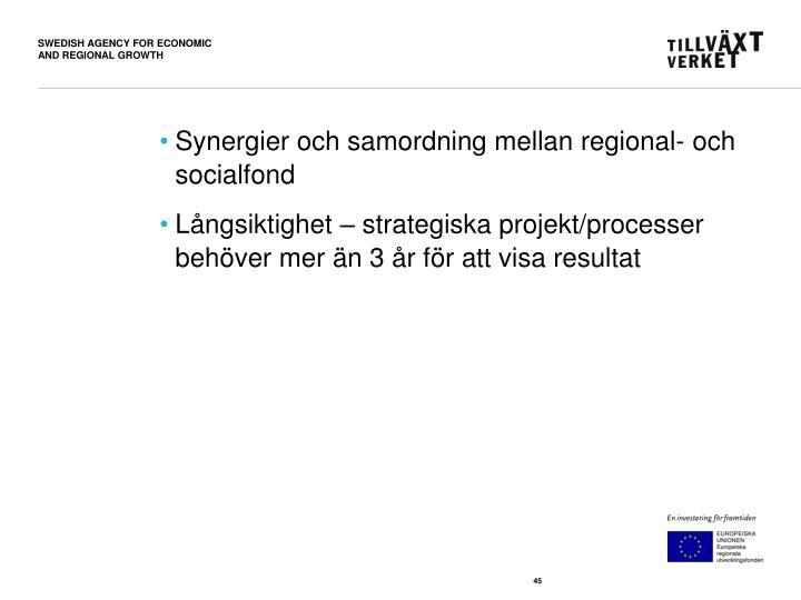 Synergier och samordning mellan regional- och socialfond