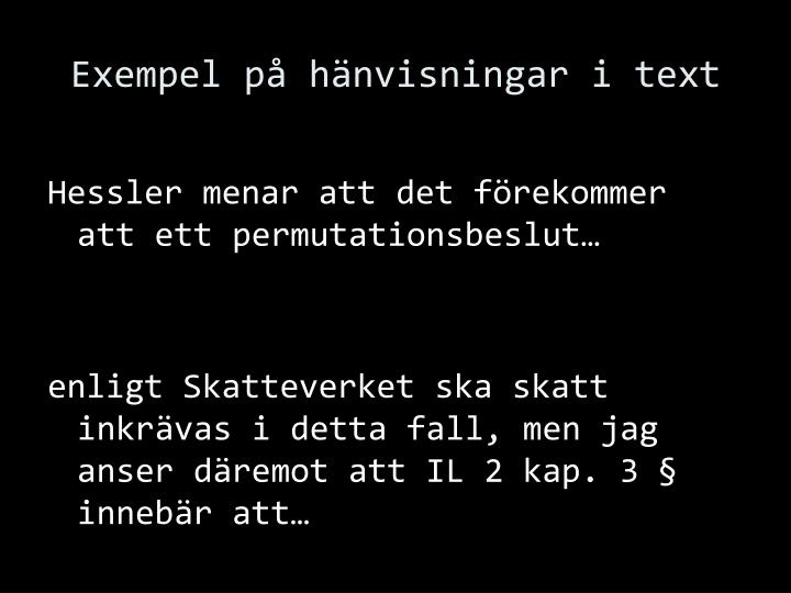Exempel på hänvisningar i text