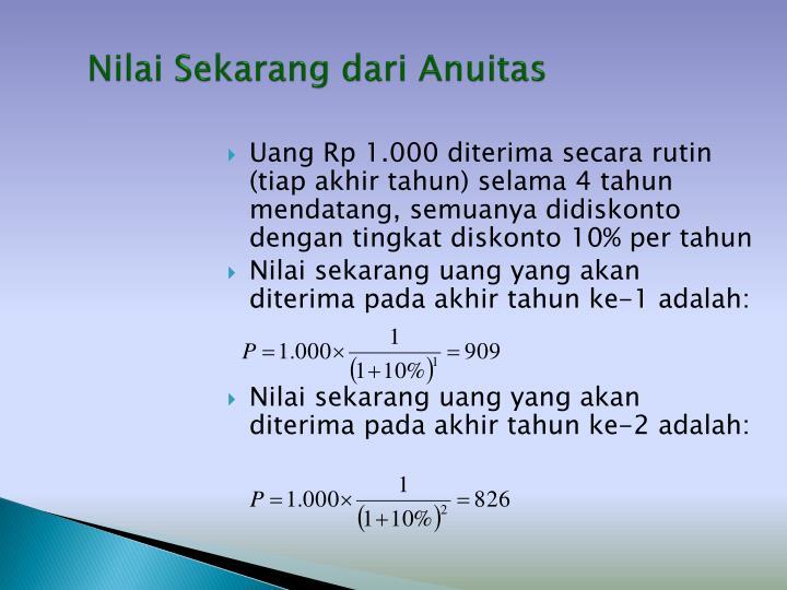 Nilai Sekarang dari Anuitas