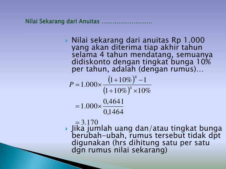 Nilai Sekarang dari Anuitas ………………………