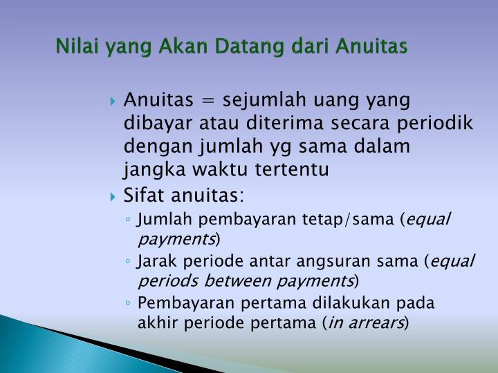 Nilai yang Akan Datang dari Anuitas