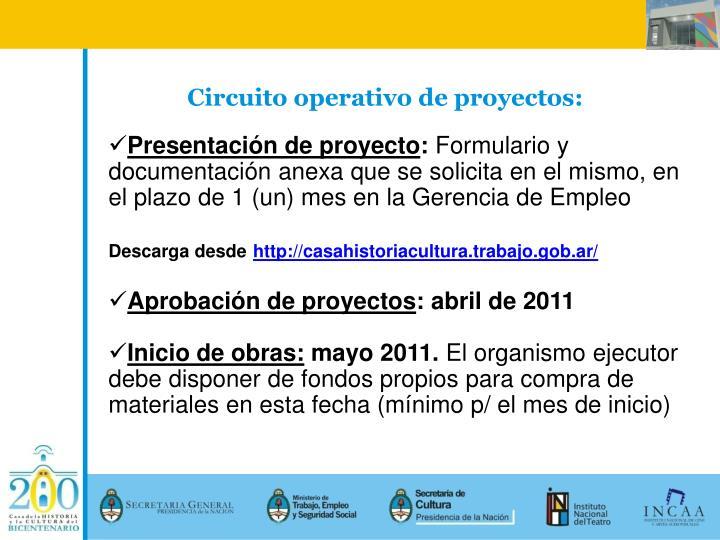 Circuito operativo de proyectos: