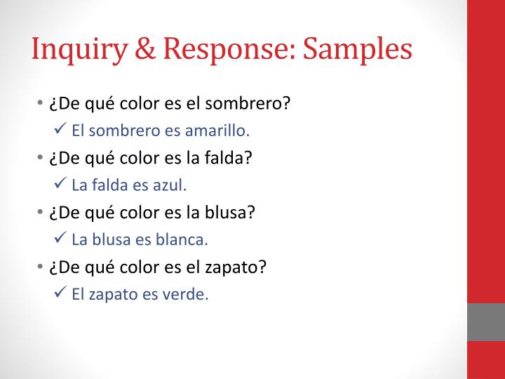 Inquiry & Response: Samples