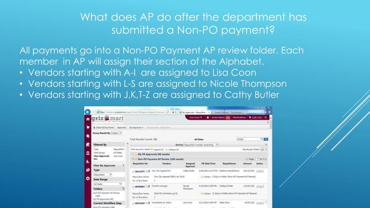 What does AP do after the department has submitted a Non-PO payment?