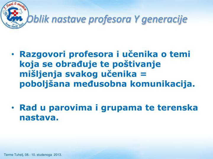 Oblik nastave profesora Y generacije