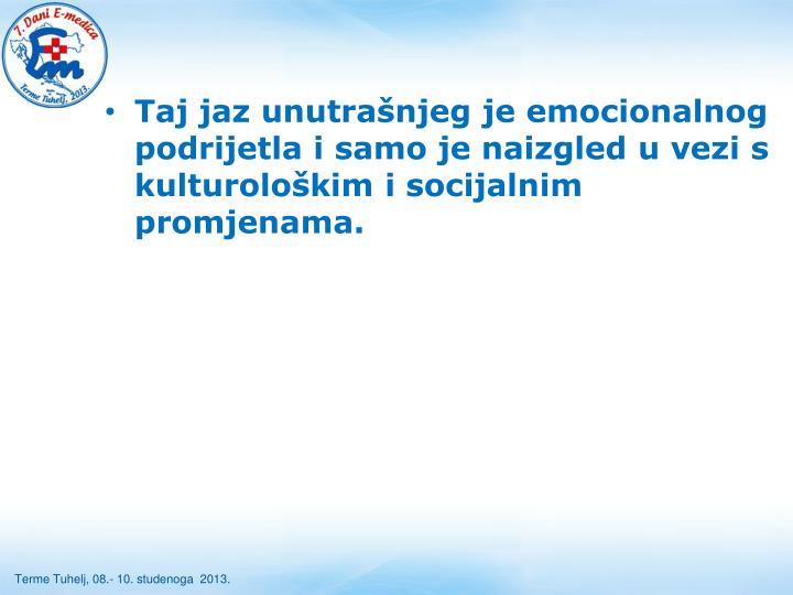 Taj jaz unutrašnjeg je emocionalnog podrijetla i samo je naizgled u vezi s kulturološkim i socijalnim promjenama.