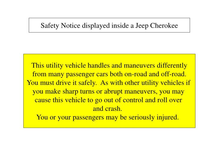 Safety Notice displayed inside a Jeep Cherokee