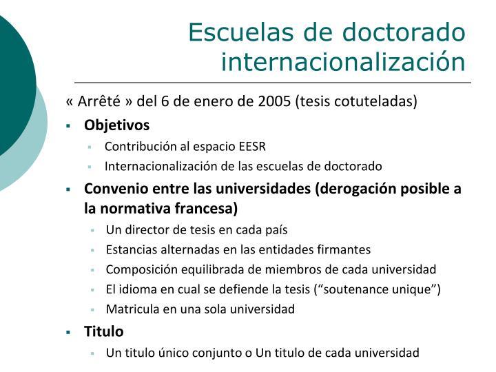 Escuelas de doctorado internacionalización