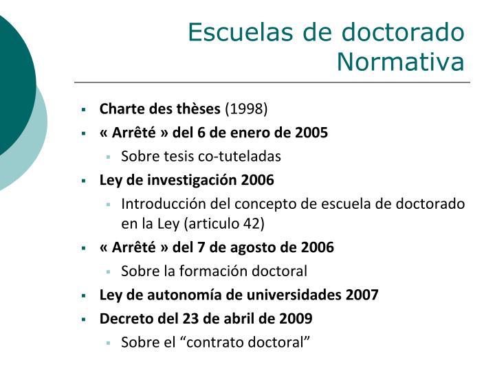 Escuelas de doctorado Normativa