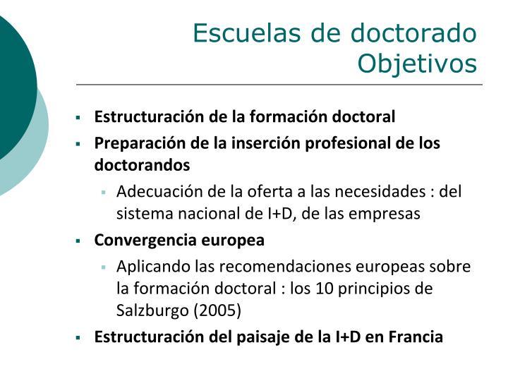 Escuelas de doctorado Objetivos