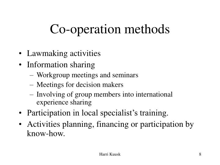 Co-operation methods