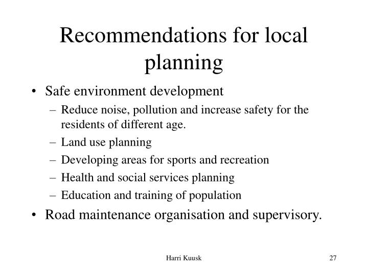Recommendations for local planning