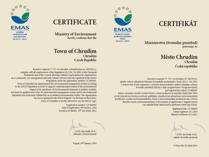 pokud má organizace pouze ověřený systém EMAS od ověřovatele s akreditací