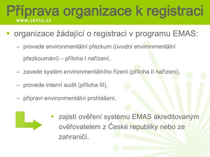 organizace žádající o registraci v