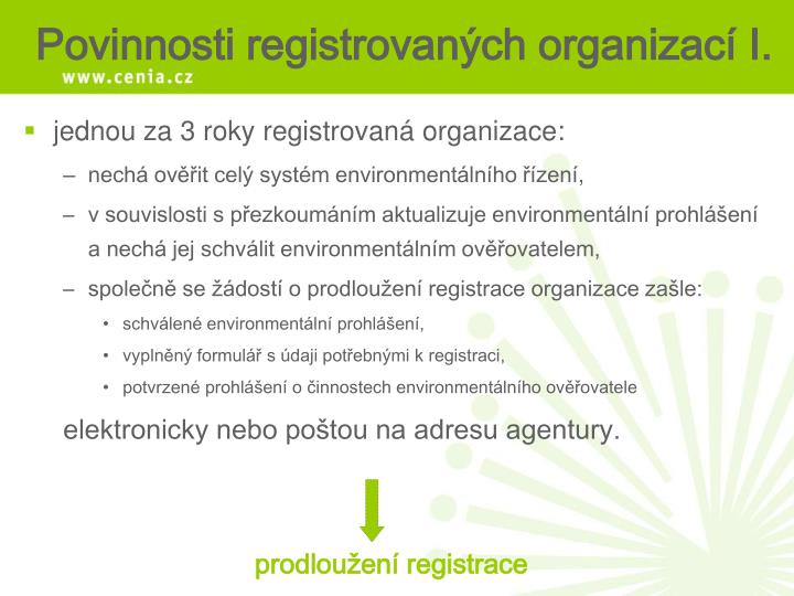 jednou za 3 roky registrovaná organizace: